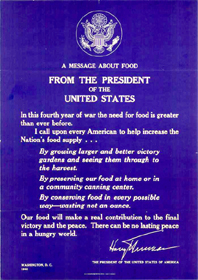 Message About Food from the President